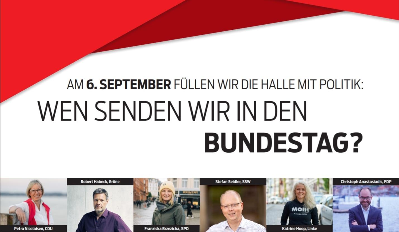 """Veranstaltungsplakat Flensborg Avis """"Wen senden wir in den Bundestag"""""""